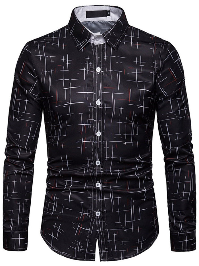 Lapel Print Casual Slim Single-Breasted Shirt