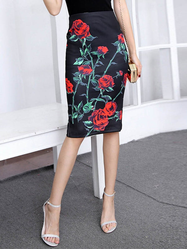 Bodycon Floral Knee-Length Casual High Waist Skirt