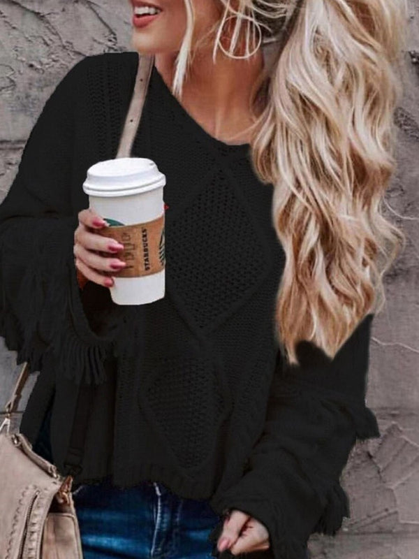 Ruffle Sleeve Tassel Loose Long Sleeve Sweater