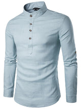 Button Casual Stand Collar Slim Spring Shirt