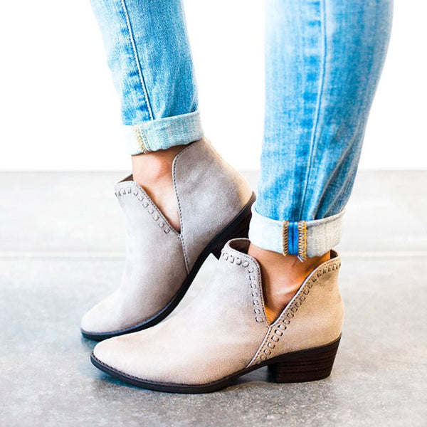 Pointed Toe Plain Slip-On Chunky Heel Casual Thread Boots