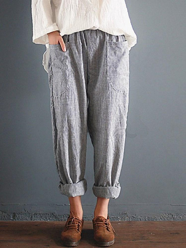 Loose Stripe Full Length Harem Pants Casual Pants