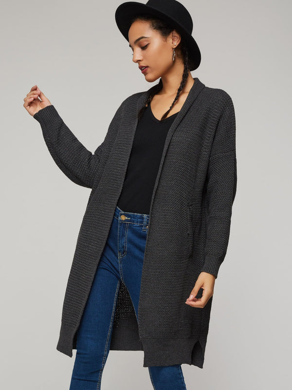 Mid-Length Plain Thick Women's Loose Cardigan Knitwear
