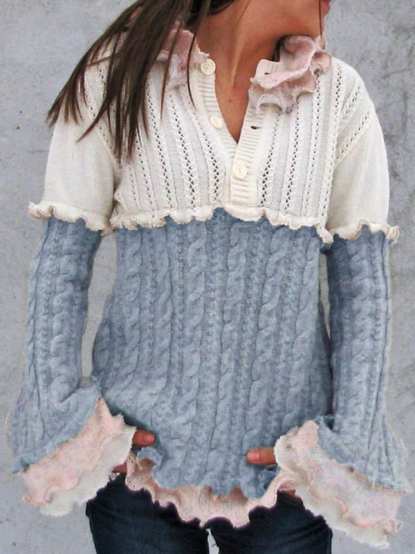 Stringy Selvedge Regular Flare Sleeve Long Sleeve Loose Sweater