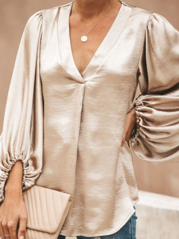 Plain V-Neck Lantern Sleeve Long Sleeve Mid-Length Blouse
