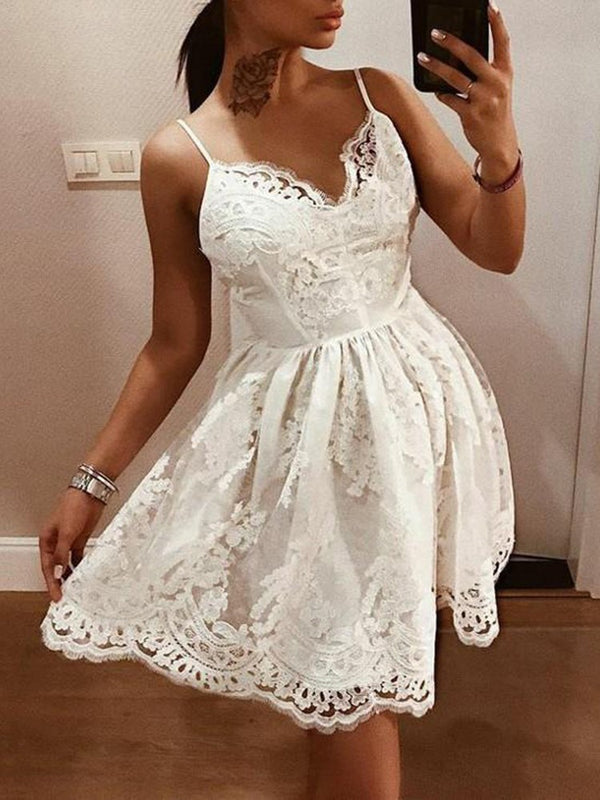 Above Knee Sleeveless Lace Expansion Pullover Dress