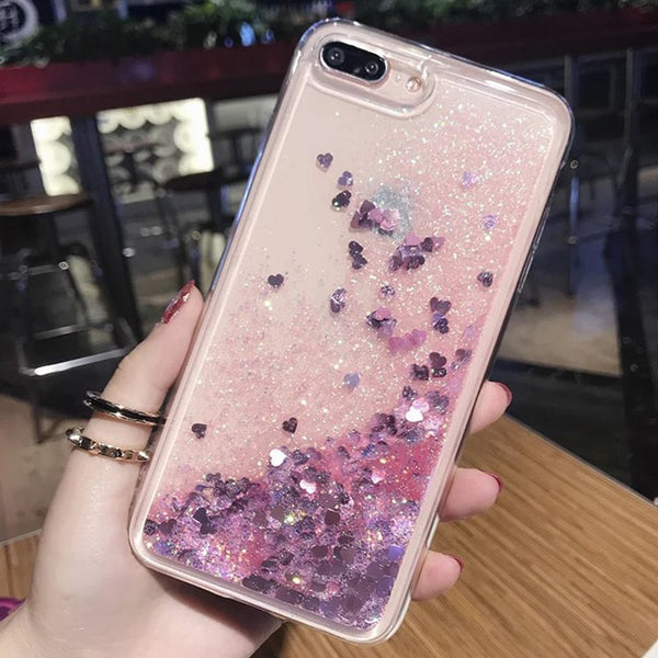 iPhoneXSMax Teléfono móvil Carcasa Quicksand Funda móvil Flash Powder Sequin Líquido Silicona TPU Love Iphone Case