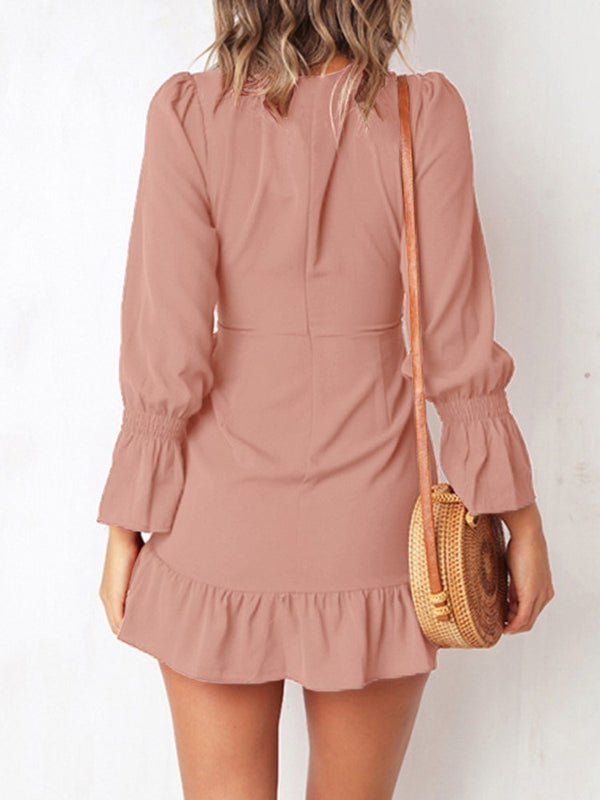 Above Knee Bowknot Long Sleeve Fall Flare Sleeve Dress