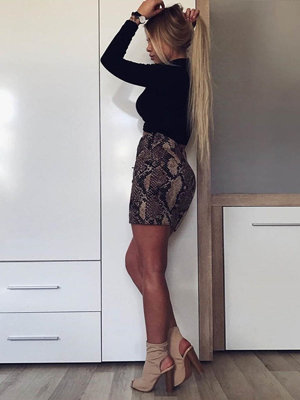 Mini Skirt Print Serpentine High Waist Casual Skirt