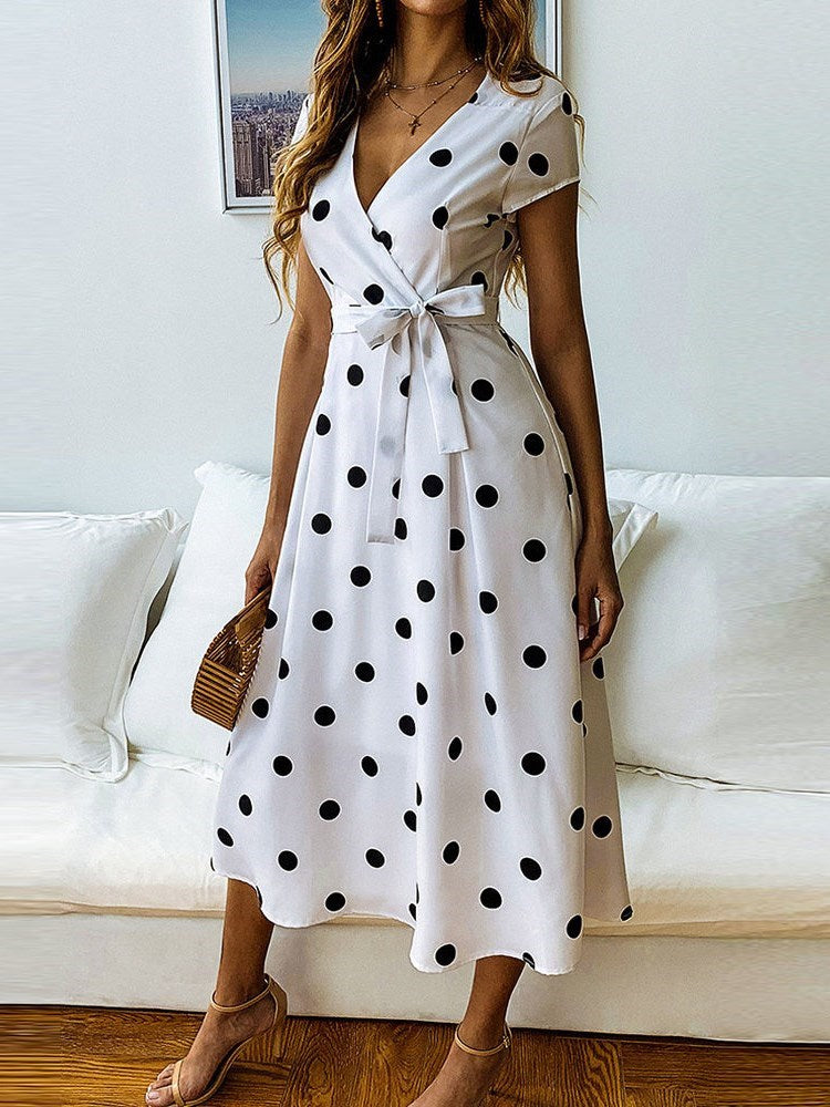 Print Mid-Calf Short Sleeve Polka Dots A-Line Dress