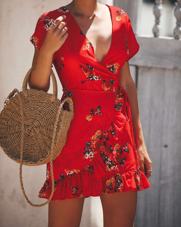 Print Short Sleeve V-Neck Mid Waist Floral Dress