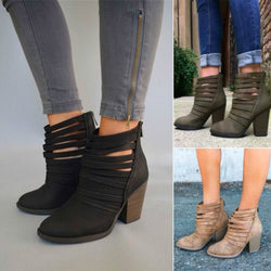 a73d2b39397af Plus Size Back Zip Chunky Heel Women's Ankle Boots – hebedress.com