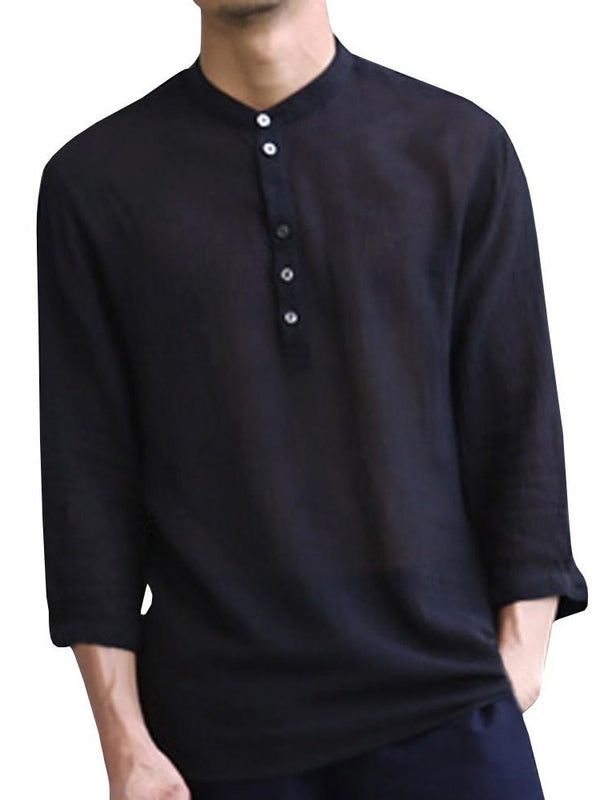 Button Plain European Slim Spring Shirt