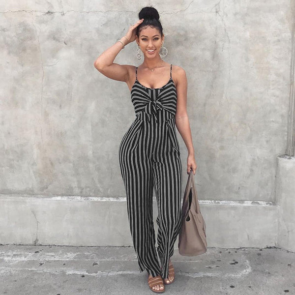 Stripe Knotted Wide Legs Strap Women's Jumpsuits