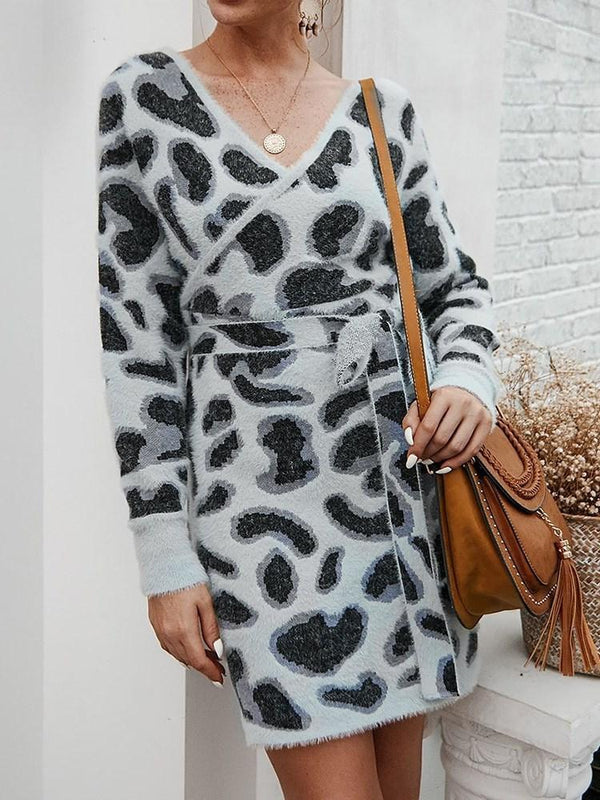Print V-Neck Long Sleeve Winter Mid Waist Dress