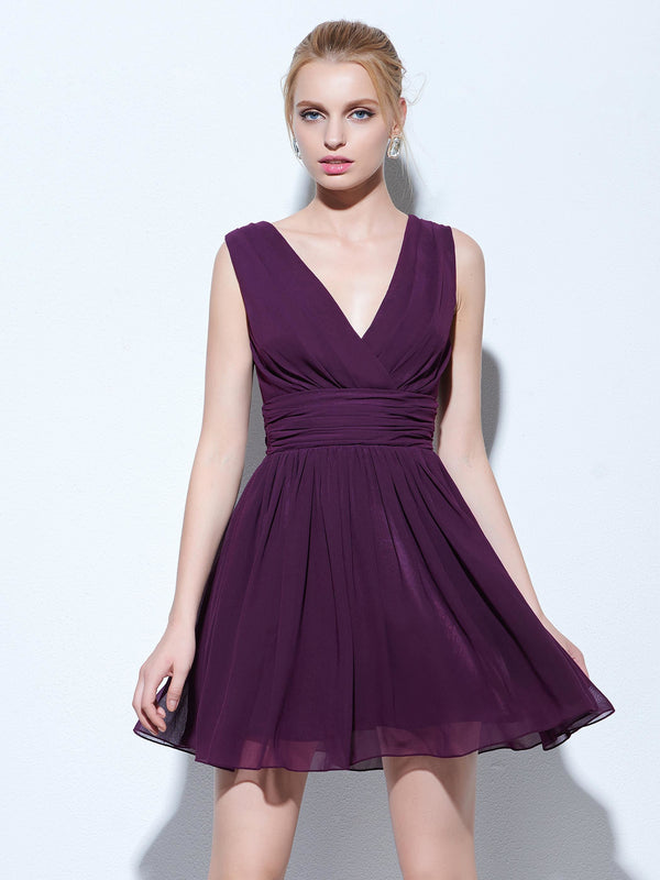 Falten Lila A-Line Short / Mini Holiday Dress