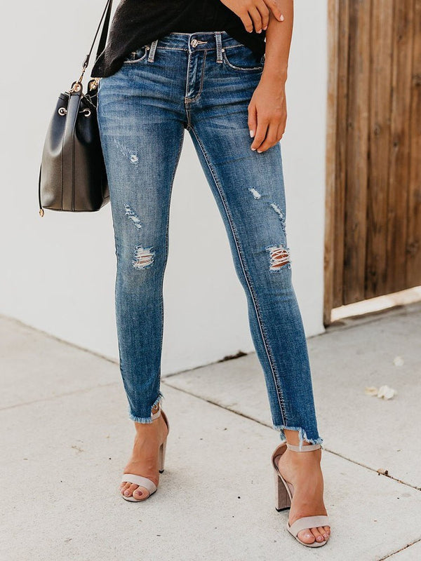Distressed Hole Damenjeans