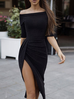 Sexy Off Shoulder Split Dress