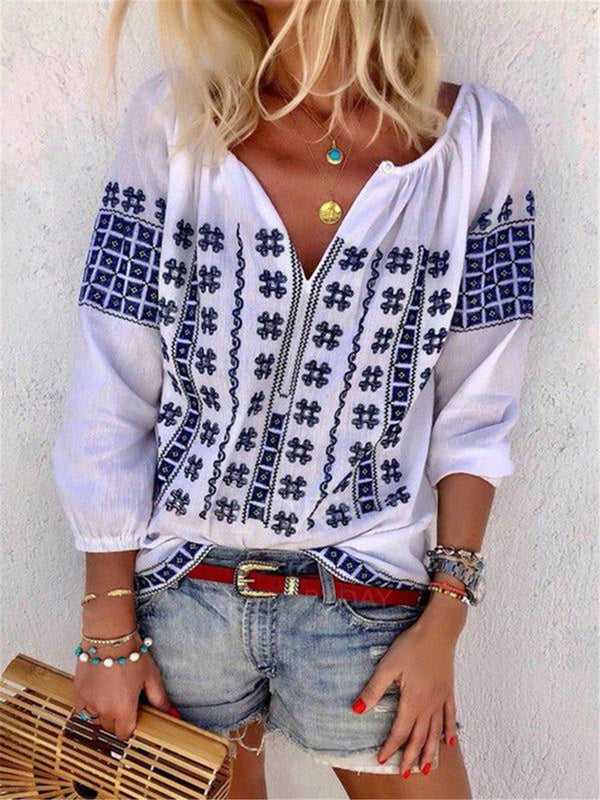 Lantern Sleeve Embroidery Color Block Standard Three-Quarter Sleeve Blouse