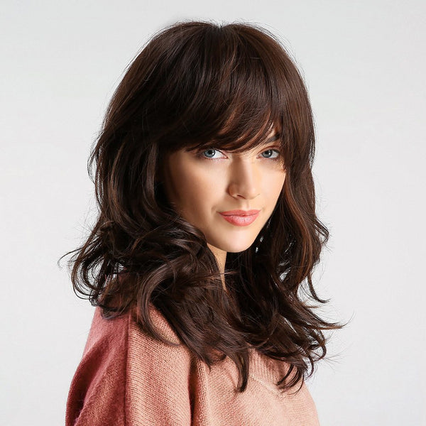 Wavy Synthetic Hair Femmes Capless 130% Perruques