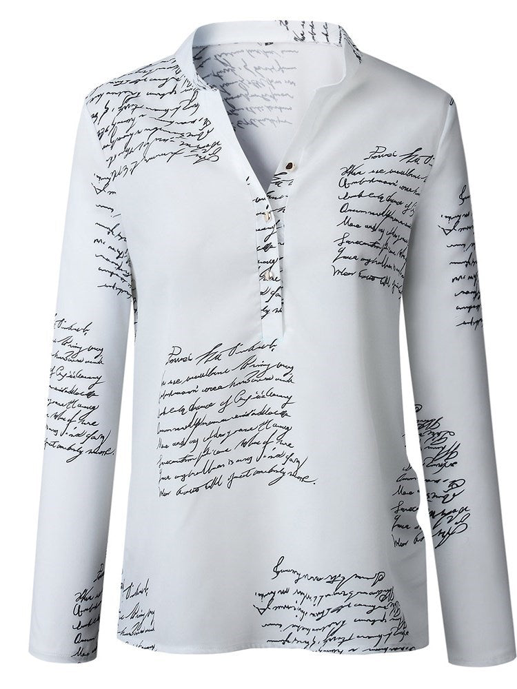 Letter Print Long Sleeve Standard Blouse