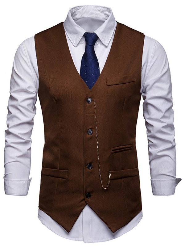 Plain V-Neck Men's Single-Breasted Waistcoat