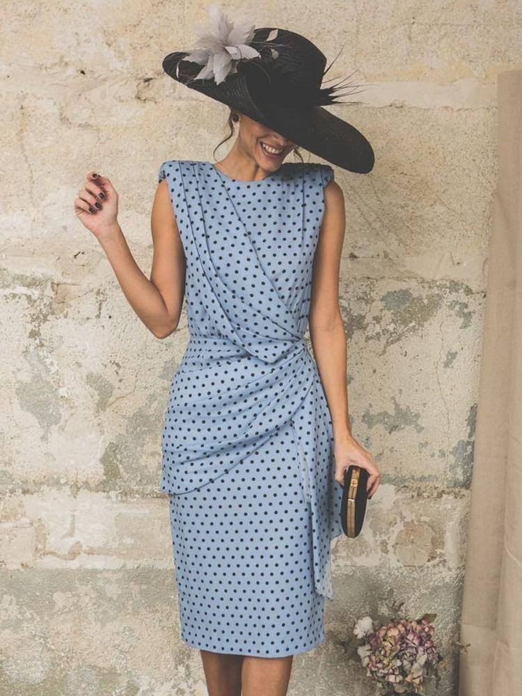 Sleeveless Round Neck Knee-Length High Waist Polka Dots Dress