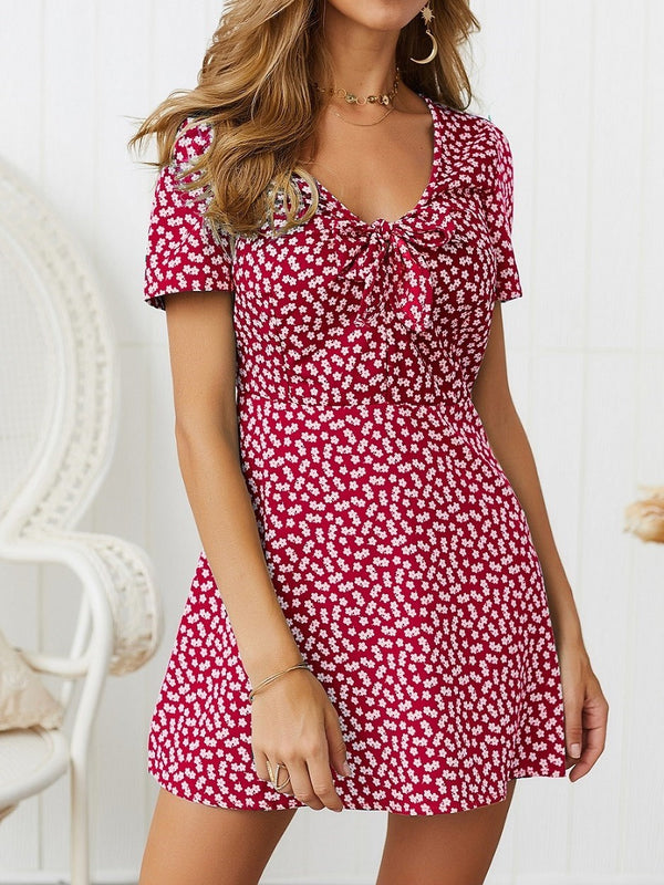 Short Sleeve Lace-Up V-Neck Pullover Floral Dress