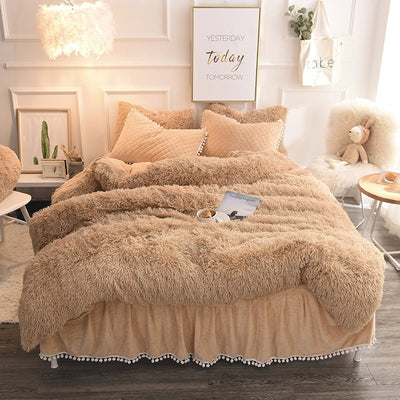 Solid Camel Quilting Bed Skirt Super Soft 4-Piece Fluffy Bedding Sets/Duvet Cover