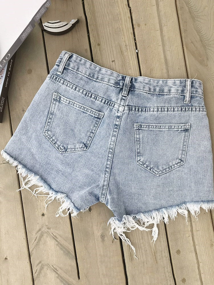 Shorts Skinny Zipper Plain Zipper