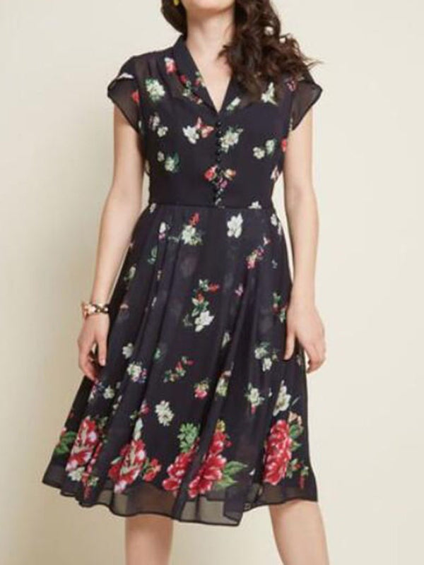 Print Mid-Calf V-Neck Pullover A-Line Dress