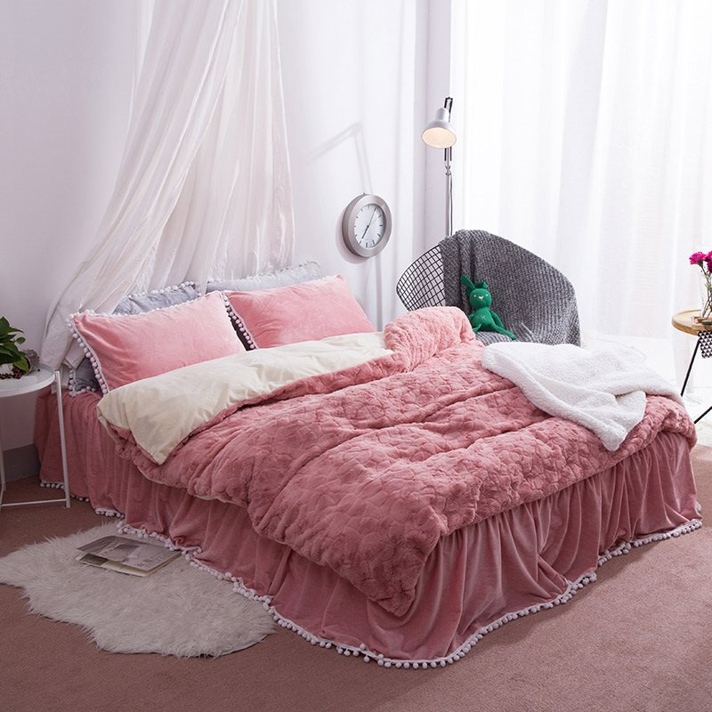 Solid Peachy Beige Decorative Fuzzy Ball Faux Rabbit Fur 4-Piece Fluffy Bedding Sets