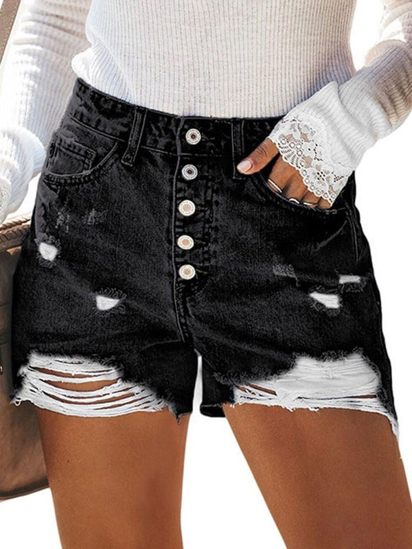 Plain Button Straight Button Shorts