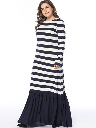 Floor-Length Round Neck Patchwork Pullover Stripe Dresses