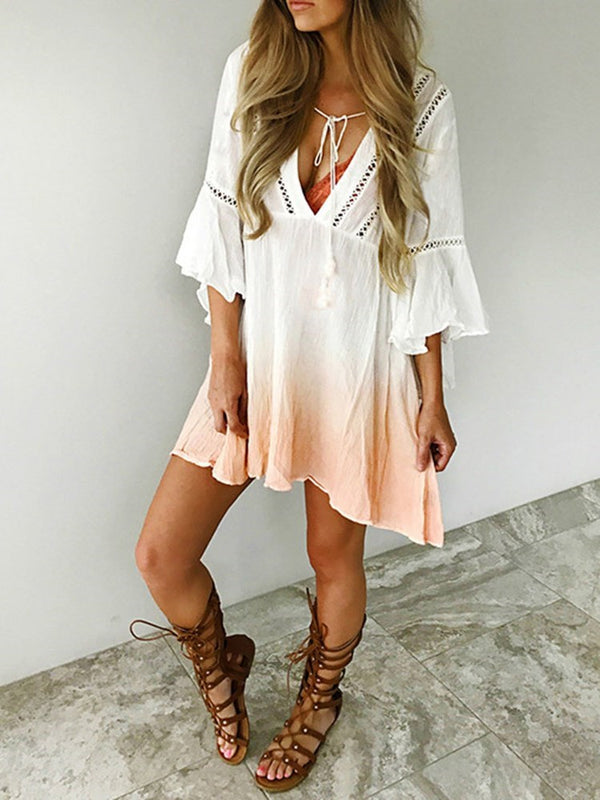 Lace-Up Three-Quarter Sleeve Above Knee Casual Flare Sleeve Dress