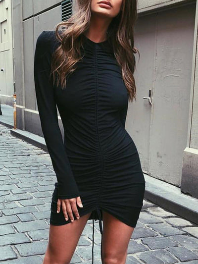 Black Long Sleeve Above Knee Bodycon Sexy Dress