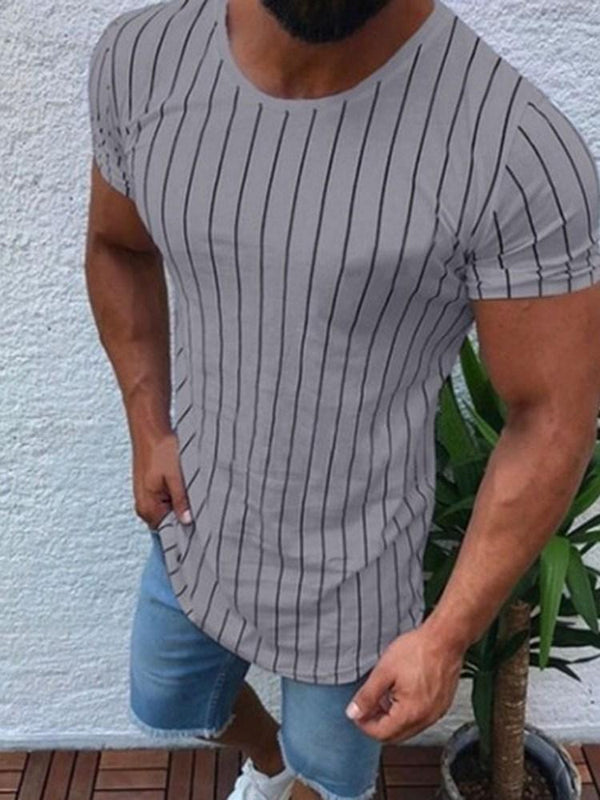 Casual Print Round Neck Short Sleeve Slim T-shirt
