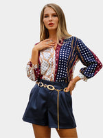 Polka Dots Print Lantern Sleeve Three-Quarter Sleeve Standard Blouse