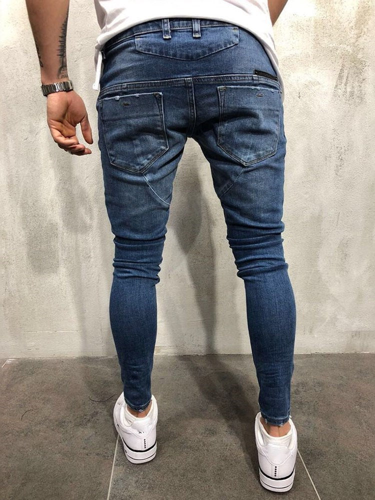 Mid Waist Button Casual Jeans