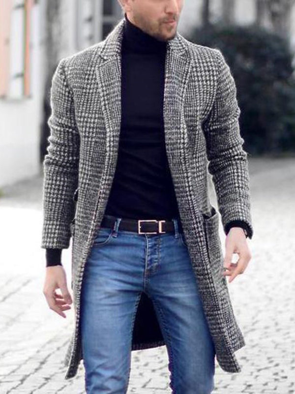 Plaid Pocket Mid-Length European Winter Coat