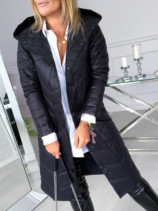 Single-Breasted Loose Thick Long Cotton Padded Jacket