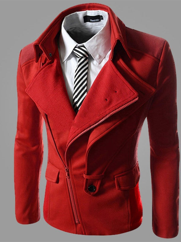 Stand Collar Plain Slim Casual Jacket