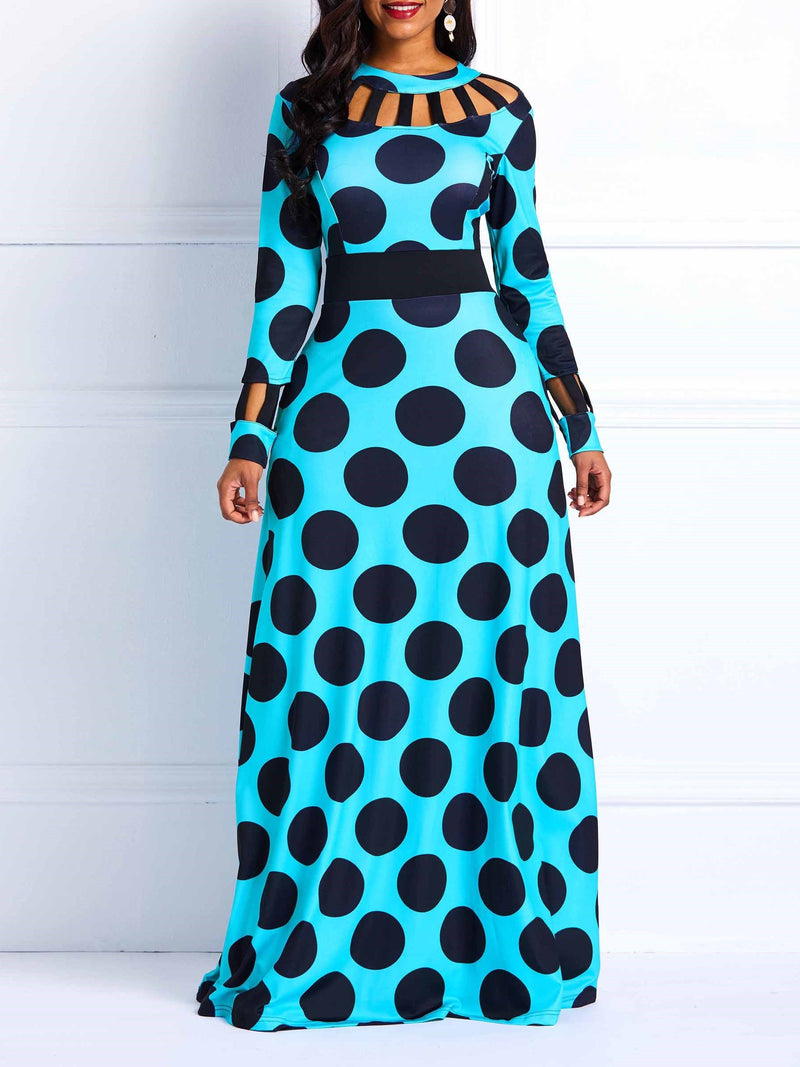 Wave Point Long Sleeve Contrast Color Maxi Dress