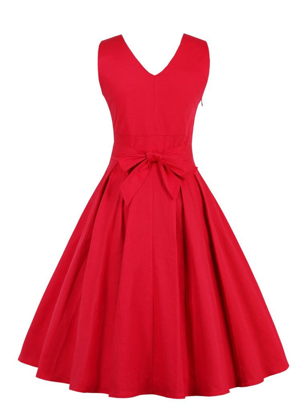 V-Neck Bowknot Red A-Line Formal Dress