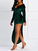 Off-The-Shoulder Long Sleeve Asymmetric Party Dress