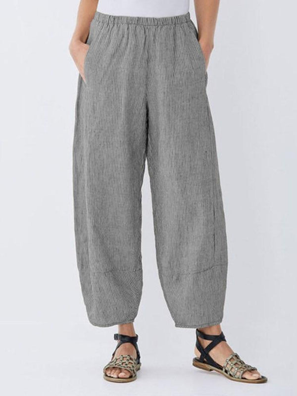 Loose Stripe Ankle Length Mid Waist Casual Pants