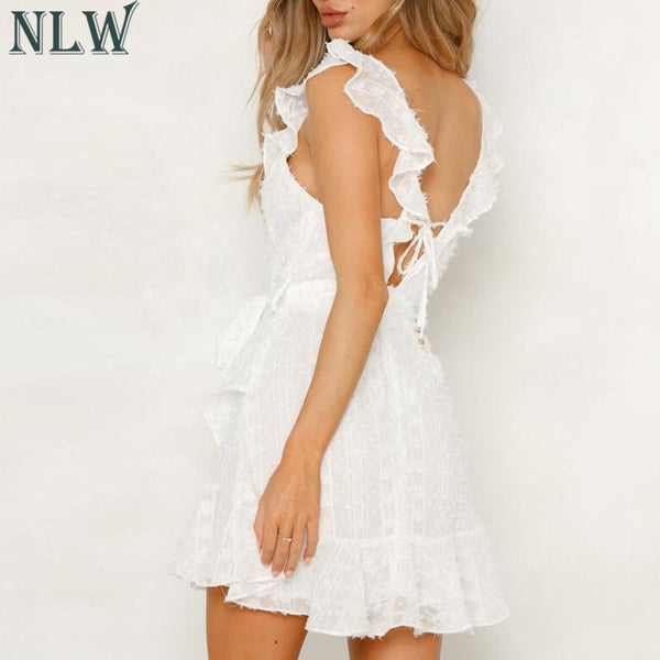 2019 Summer Casual Sexy V Neck Backless Lace up Short Dress
