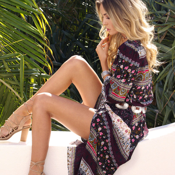 Ankle-Length Print Long Sleeve Expansion Fall Dress