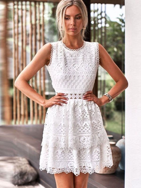 Sopra il ginocchio Girocollo Hollow Summer Date Night / Going Out Dress
