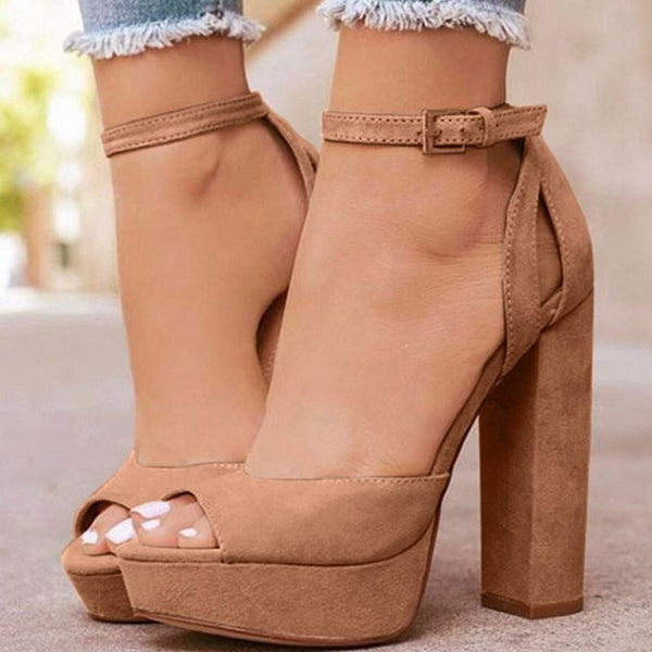 Buckle Chunky Heel Buckle Peep Toe Plain Ultra-High Heel Thin Shoes
